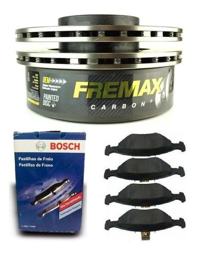 Discos De Freio + Pastilhas Bosch Prisma 1.4 2010 2011 2012