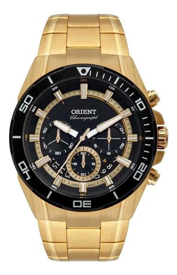 Relogio Orient Cronografo Dourado Preto Mgssc029 P1kx