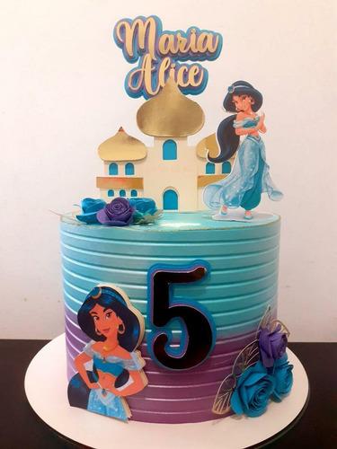 Imagem 1 de 1 de Topo De Bolo Festa Topper 3d Em Camadas Jasmine