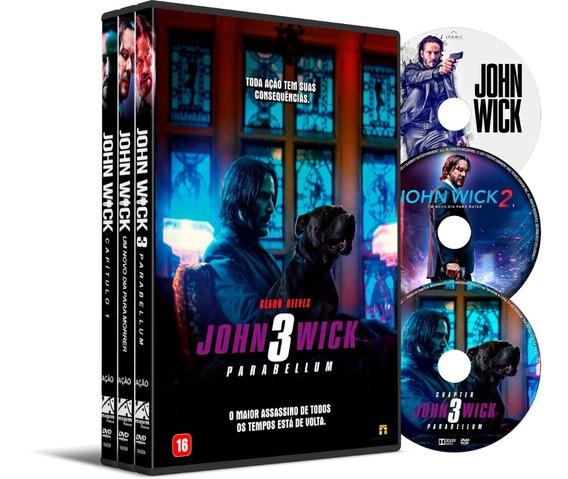 Dvd Box Coleção John Wick 3 Filmes Dual Áudio