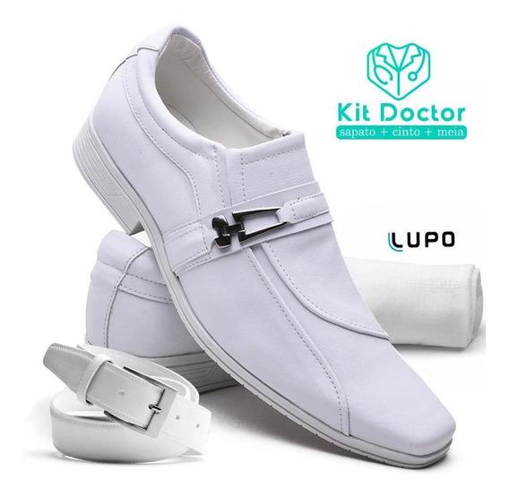 Kit Sapato Social Masculino Original Branco +cinto+meia
