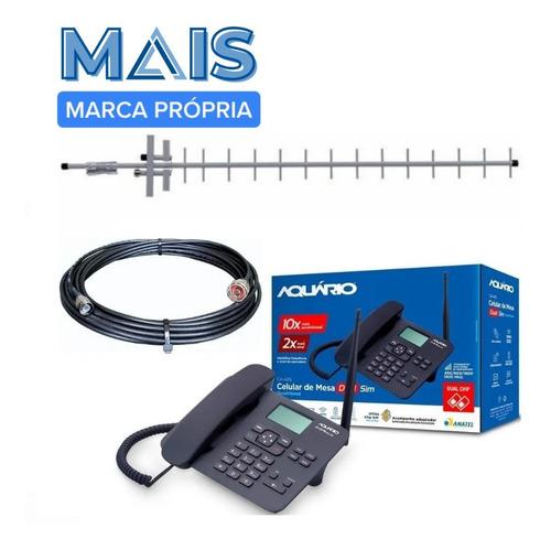 Kit Telefone De Mesa Rural 2 Chips Quadriband Aquário Ca-42s