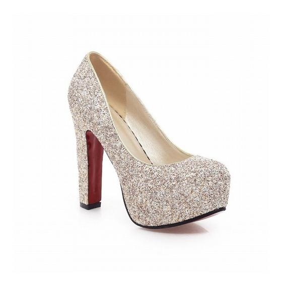 Sapato Feminino Plataforma Salto Grosso Alto Brilho Bombas