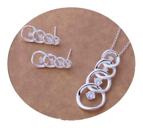 Imagen 1 de 2 de Collar Aretes Para Mujer Dama Plata Ley .925 Con Zirconia