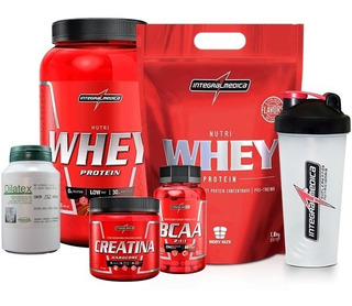 2x Whey 900g + Bcaa + Creatina + Shaker - Integral + Dilatex