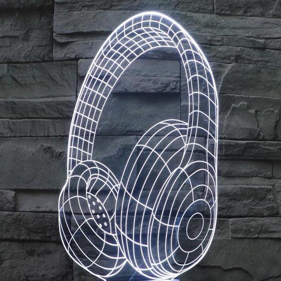 Luminária Fone De Ouvido Em 3d Em Acrílico.