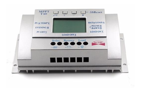 Controlador De Carga Solar Mppt 40a Lcd Usb 12-24v Cor Prata