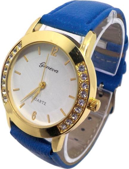 Relógios Femininos Geneva Strass Azul - Frete Gratis