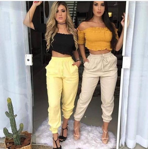 Calça Feminina Jogger Linho Colorida Blogueira