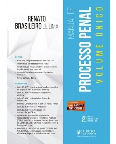 Manual De Processo Penal - Volume Único - 8ª Edição (2020)