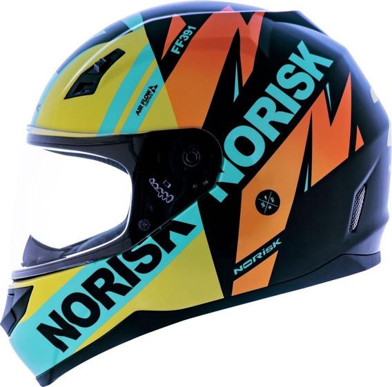Capacete Norisk Ff391 Furious Preto Amarelo Capacete Moto