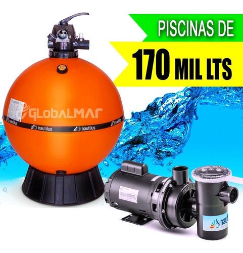 Imagem 1 de 8 de Kit Para Piscina Filtro Bomba Motor 1,5cv Novo Modelo 170m³