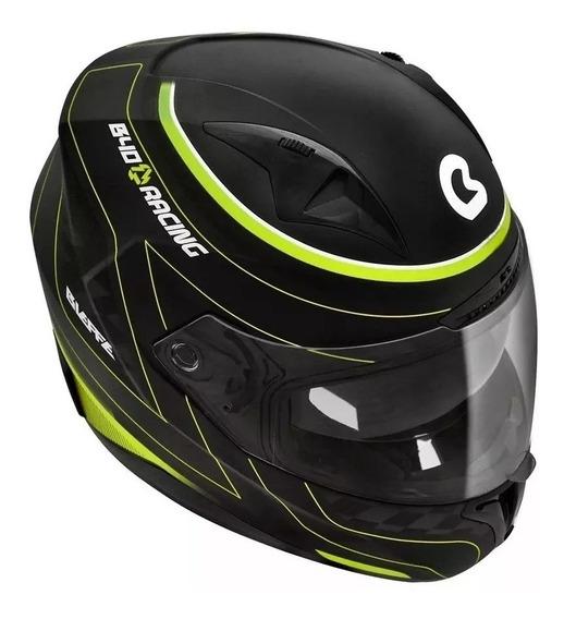 Capacete Bieffe B40 Racing Preto Fosco/verde C/ Óculos 58