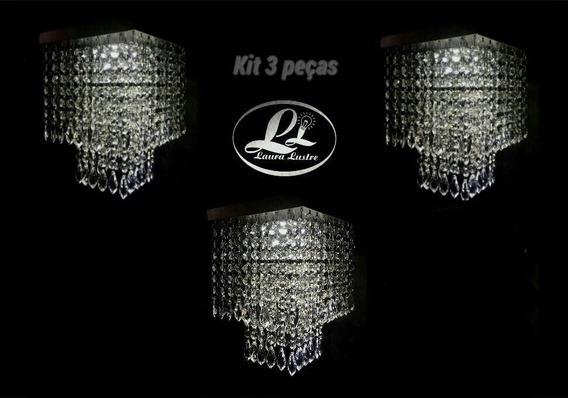 Kit 3 Lustres Cristal Acrílico Montado C/iluminação Grátis