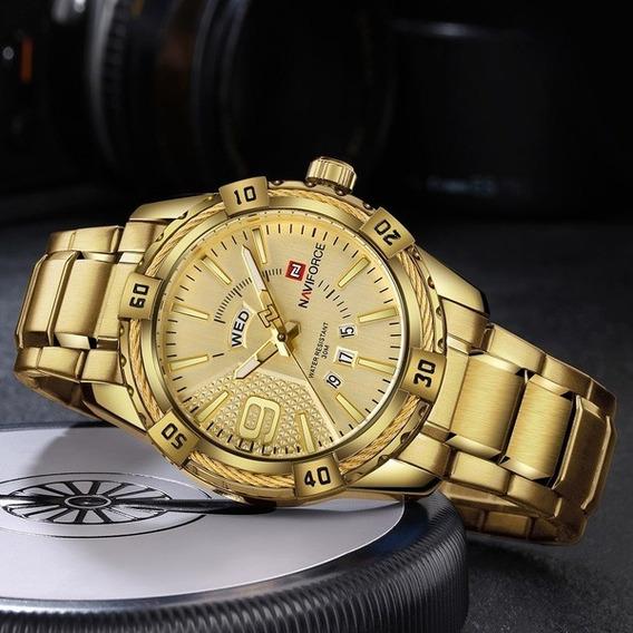 Relógio Naviforce Top Marca De Luxo Dourado Negócios Quartzo