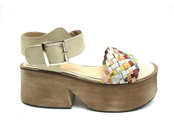 Zapato Sandalia Cuero Base Plataforma Primavera Moda 2140