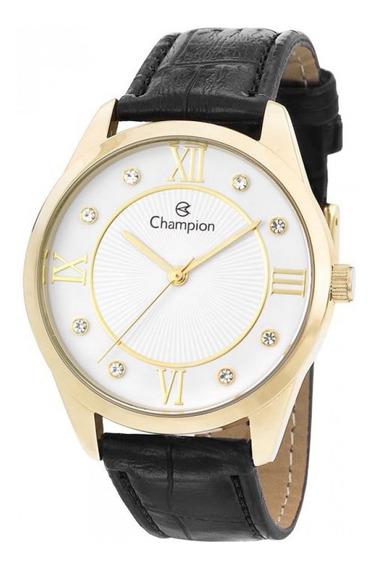 Relógio Feminino Champion Dourado Pulseira Couro Com Pedras