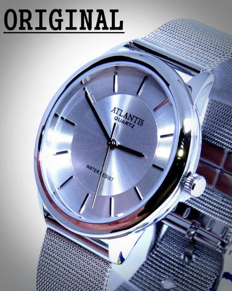 Relógio Feminino Prateado Aço Inox Barato Mariner Original