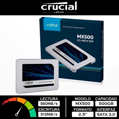 Ssd 2.5 7mm Crucial Mx500 500gb Sata 3.0