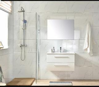 Mueble Para Baño Iz80 Blanco Inc. Lav Ceramico Y Esp Biselad
