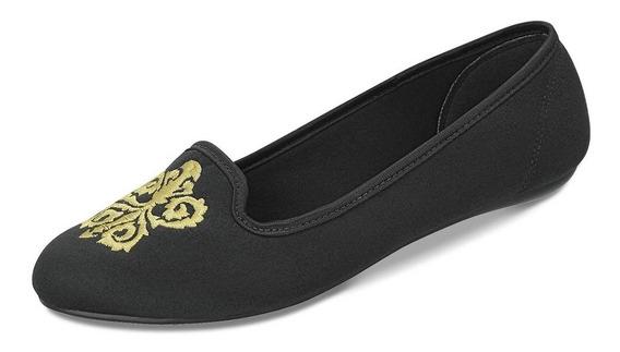 Sapato Dijean 777/577 Camurça Preto Com Bordado Dourado