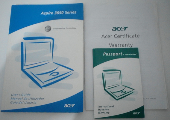 Manuais E Cd De Instalação Do Notebook Acer Aspire 3651