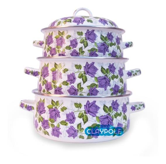 Set X3 Cacerola Enlozadas Decoradas Flores Púrpura (nº 20-22-24) - Jovifel