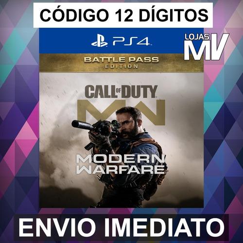 Cod Modern Warfare Ed Passe De Batalha Codigo 12 Digitos Ps4