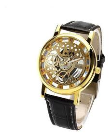 Relógio Masculino Luxo Quartzo Pulseira Couro Dourado