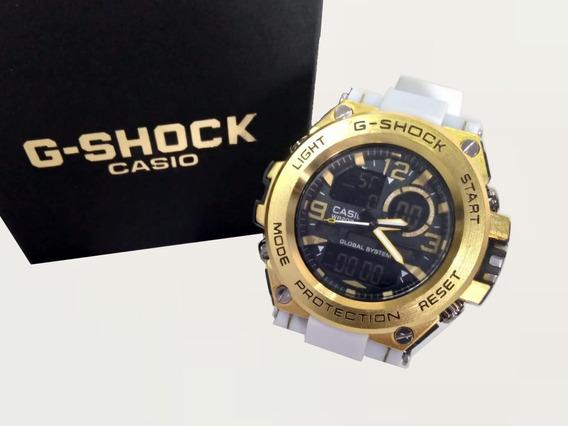 Relógio Branco Dourado G Shoc Steel Digital Analógico Esport