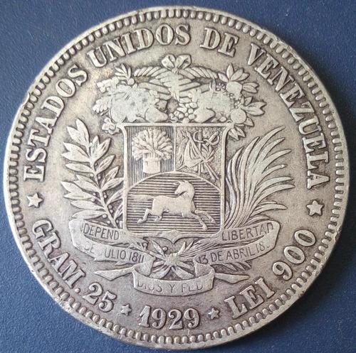 Moneda De 5 Bolívares De 1929 Fuerte De Plata