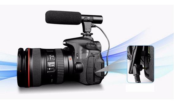 Microfone 3.5mm Condensador Stereo Shotgun Para Canon Nikon