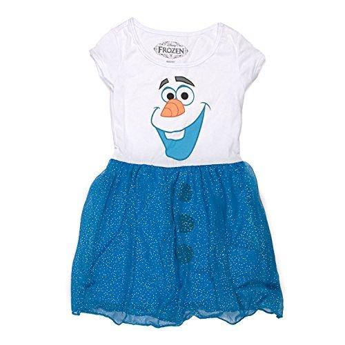 Trajes,congelado Am Olaf Chicas Azul Vestido De Brillo (..