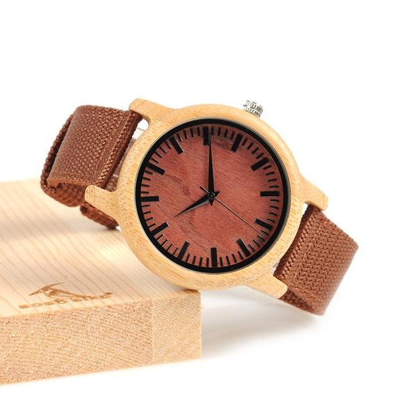 Relógio Unissex Bambu Madeira Bobo Bird D09 Pulseira Nylon