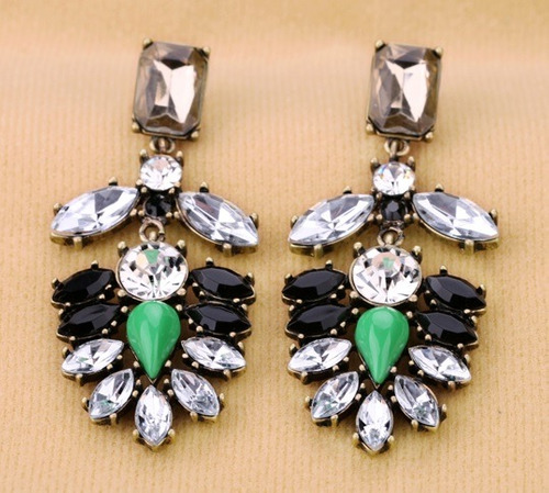 Aretes Maxi Con Cristales Para Vestido Importados En Stock