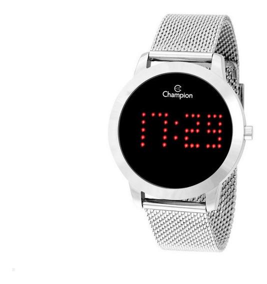 Relógio Champion Prateado Digital Led Vermelho Ch40017t