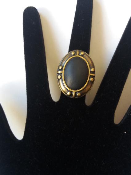 Promoção Anel Dourado Envelhecido Pedra Preta Tam. Regulável