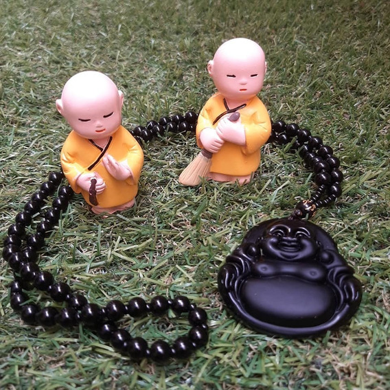 2 Monges Budista Em Resina Esmaltado + Terço Japamala