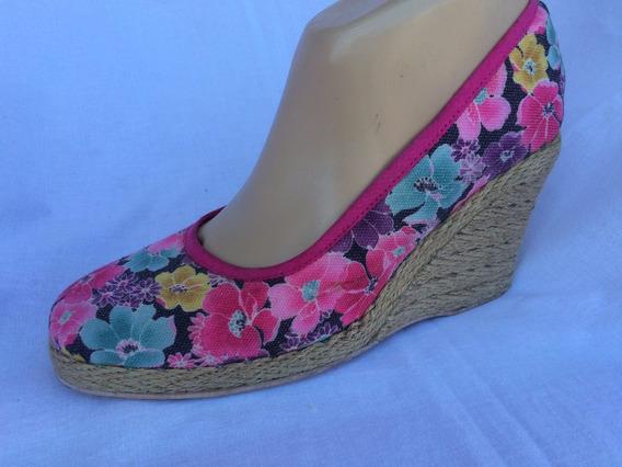 Sandalia Zapato Floreado Taco Chino Impecable Nº 39