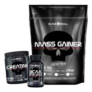 Kit Hipercalorico Gainer + Bcaa 2400 + Creatina - Black Skul