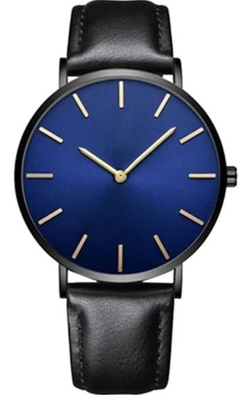 Relógio Masculino Analógico Quartzo Couro Preto Luxo Barato
