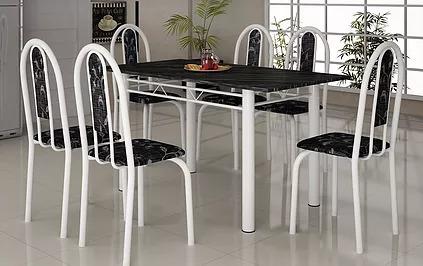 Mesa Para Cozinha Em Granito 140x75 Com 6 Cadeiras Só Rj