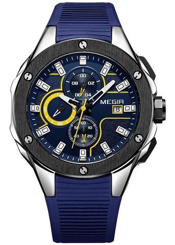 Imagen 1 de 9 de Reloj Hombre Megir Cronografo Fechador Deportivo