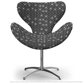 Cadeira Egg Colmeia Cinza E Preto Com Base Giratória
