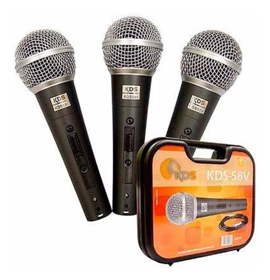 Microfone Kadosh Kit C/3 Unid Kds-58v C/chave + Cabo