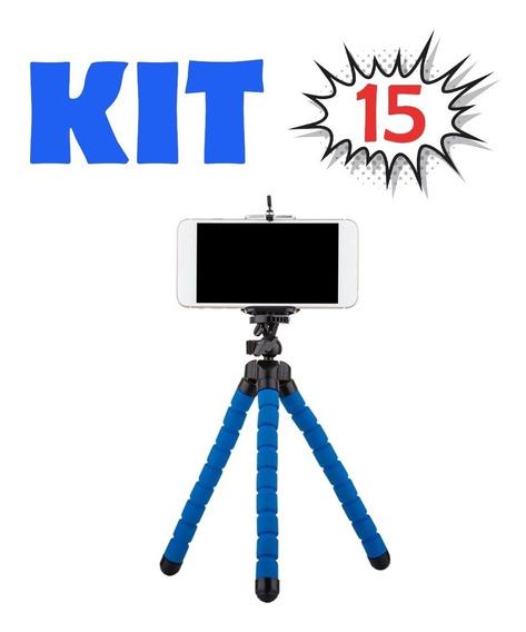 Kit 15 Mini Tripé Flexível Suporte Celular Cameras - Barato
