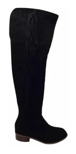 Zapato Mujer Bota Bucanera Baja Natacha Gamuza Negra #222