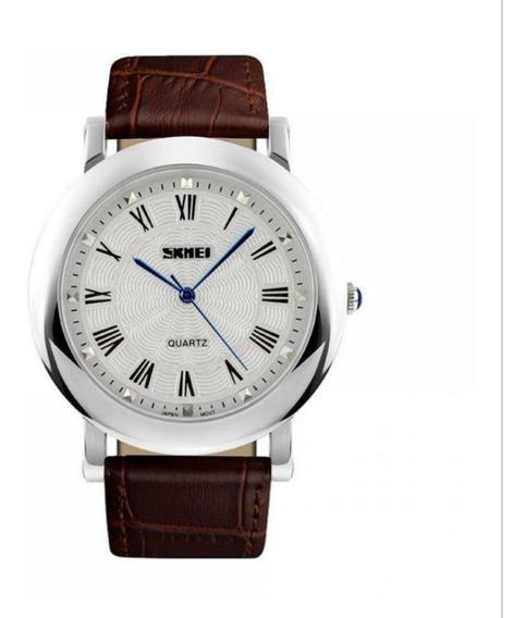 Relógio Maculino Skmei 1104 Marrom E Prata Aprova D