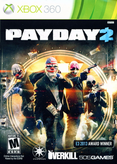 Jogo Payday 2 Xbox 360 X360 Original Frete Grátis Mídia Físi