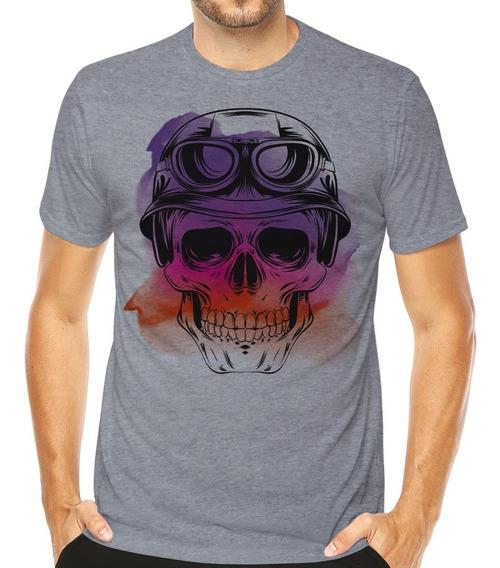 Camiseta Skull Caveira Motociclista Camisa Mexicana Moto